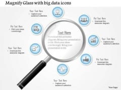 Business Diagram Magnifying Glass With Big Data Icons Surrounding The Lens Presentation Template