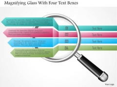 Business Diagram Magnifying Glass With Four Text Boxes Presentation Template