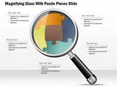 Business Diagram Magnifying Glass With Puzzle Pieces Slide Presentation Template