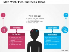 Business Diagram Man With Two Business Ideas Presentation Template