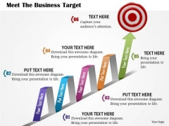 Business Diagram Meet The Business Target With Growth Arrow And Dart Presentation Template