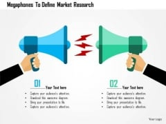 Business Diagram Megaphones To Define Market Research Presentation Template