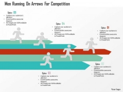 Business Diagram Men Running On Arrows For Competition Presentation Template