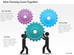 Business Diagram Men Turning Gears Together Presentation Template
