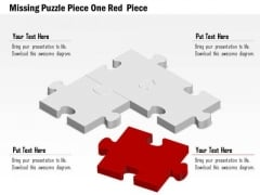 Business Diagram Missing Puzzle Piece One Red Piece Presentation Template