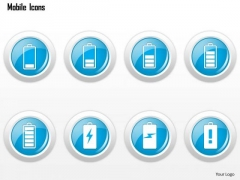 Business Diagram Mobile Icons Showing Different Battery Strengths Ppt Slide