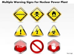 Business Diagram Multiple Warning Signs For Nuclear Power Plant Presentation Template