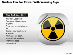 Business Diagram Nuclear Fan For Power With Warning Sign Presentation Template