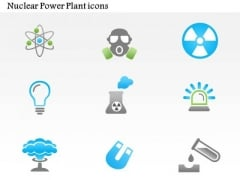 Business Diagram Nuclear Power Plant Icons Mushroom Cloud Atoms Presentation Template