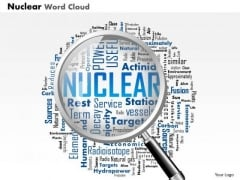 Business Diagram Nuclear Word Cloud With Magnifying Glass Highlighting Words Presentation Template