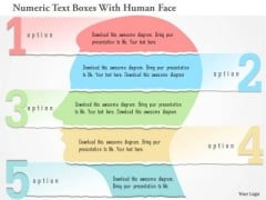 Business Diagram Numeric Text Boxes With Human Face Presentation Template