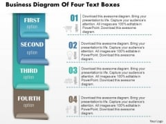 Business Diagram Of Four Text Boxes Presentation Slide Template