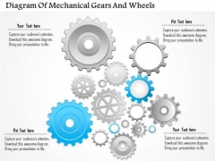 Business Diagram Of Mechanical Gears And Wheels Presentation Template