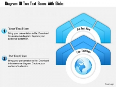 Business Diagram Of Two Text Boxes With Globe Presentation Template