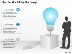 Business Diagram Open Box With Bulb For Idea Concept Presentation Template