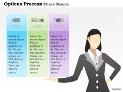 Business Diagram Options Process Three Stages Presentation Template