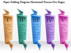 Business Diagram Paper Folding Diagram Horizontal Process Five Stages Presentation Template