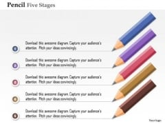 Business Diagram Pencil Five Stages Process Option Presentation Template