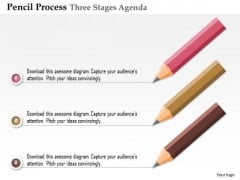Business Diagram Pencil Process Three Stages Agenda Presentation Template