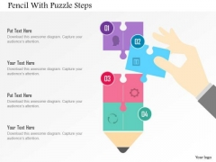 Business Diagram Pencil With Puzzle Steps Presentation Template