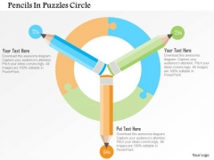 Business Diagram Pencils In Puzzles Circle Presentation Template