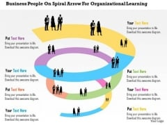 Business Diagram People On Spiral Arrow For Organizational Learning Presentation Template