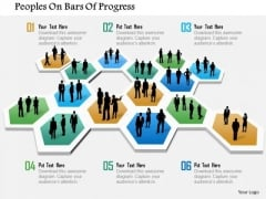 Business Diagram Peoples On Bars Of Progress Presentation Template