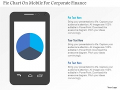 Business Diagram Pie Chart On Mobile For Corporate Finance Presentation Template