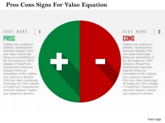 Business Diagram Pros Cons Signs For Value Equation Presentation Template