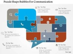 Business Diagram Puzzle Shape Bubbles For Communication Presentation Template