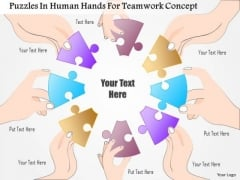Business Diagram Puzzles In Human Hands For Teamwork Concept Presentation Template