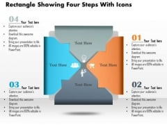 Business Diagram Rectangle Showing Four Steps With Icons Presentation Slide Template