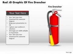 Business Diagram Red 3d Graphic Of Fire Drencher Presentation Template
