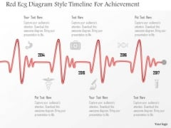 Business Diagram Red Ecg Diagram Style Timeline For Achievement PowerPoint Template