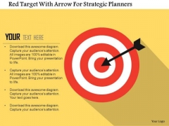 Business Diagram Red Target With Arrow For Strategic Planners Presentation Template
