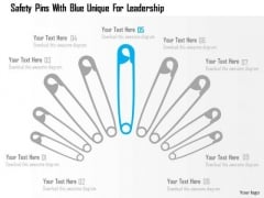 Business Diagram Safety Pins With Blue Unique For Leadership Presentation Template