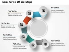 Business Diagram Semi Circle Of Six Steps Process Presentation Template