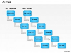 Business Diagram Sequential Flow Of Daily Agenda For Process Flow Presentation Template