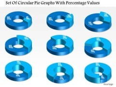 Business Diagram Set Of Circular Pie Graphs With Percentage Values Presentation Template
