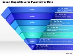 Business Diagram Seven Staged Reverse Pyramid For Data Presentation Template