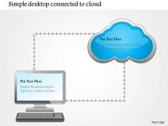 Business Diagram Simple Desktop Conntected To Cloud Ppt Slide