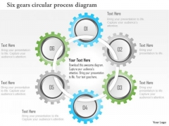 Business Diagram Six Gears Circular Process Diagram Presentation Template