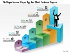 Business Diagram Six Staged Arrow Shaped App And Chart Business Diagram Presentation Template