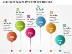 Business Diagram Six Staged Balloon Style Text Box Timeline Presentation Template