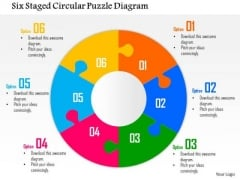 Business Diagram Six Staged Circular Puzzle Diagram Presentation Template