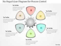 Business Diagram Six Staged Gear Diagram For Process Control Presentation Template
