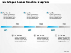 Business Diagram Six Staged Linear Timeline Diagram Presentation Template