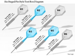 Business Diagram Six Staged Pin Style Text Box Diagram Presentation Template
