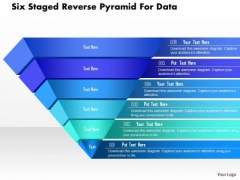 Business Diagram Six Staged Reverse Pyramid For Data Presentation Template