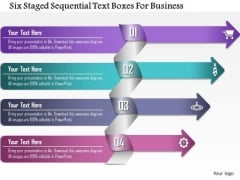 Business Diagram Six Staged Sequential Text Boxes For Business Presentation Template